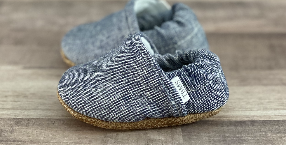 Dusty Blue Textured Moccasins