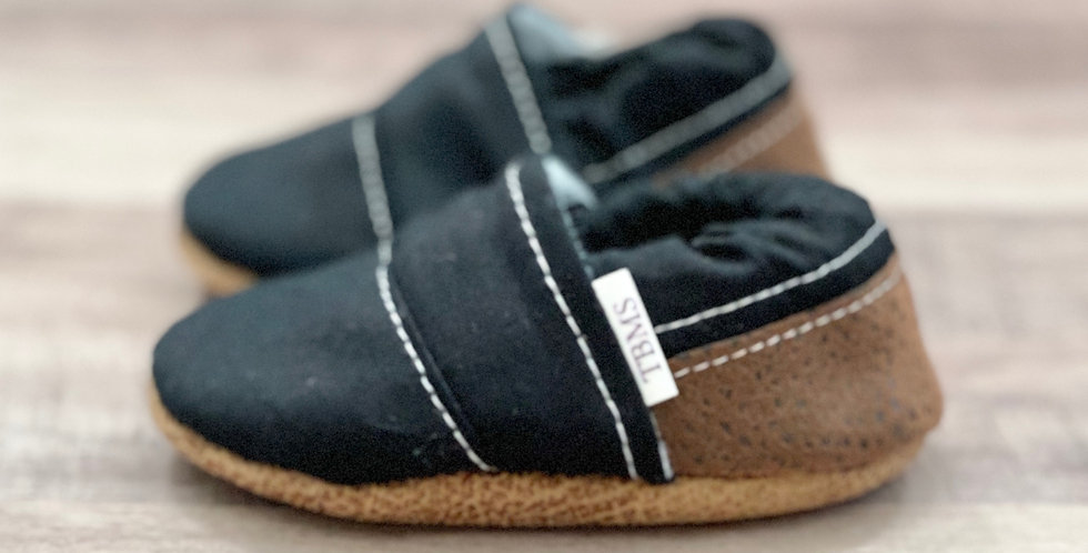 Black and Brown Angled Moccasins