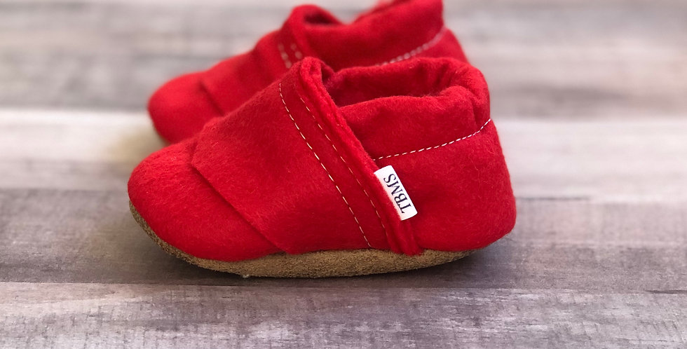 Red Felt Moccasins