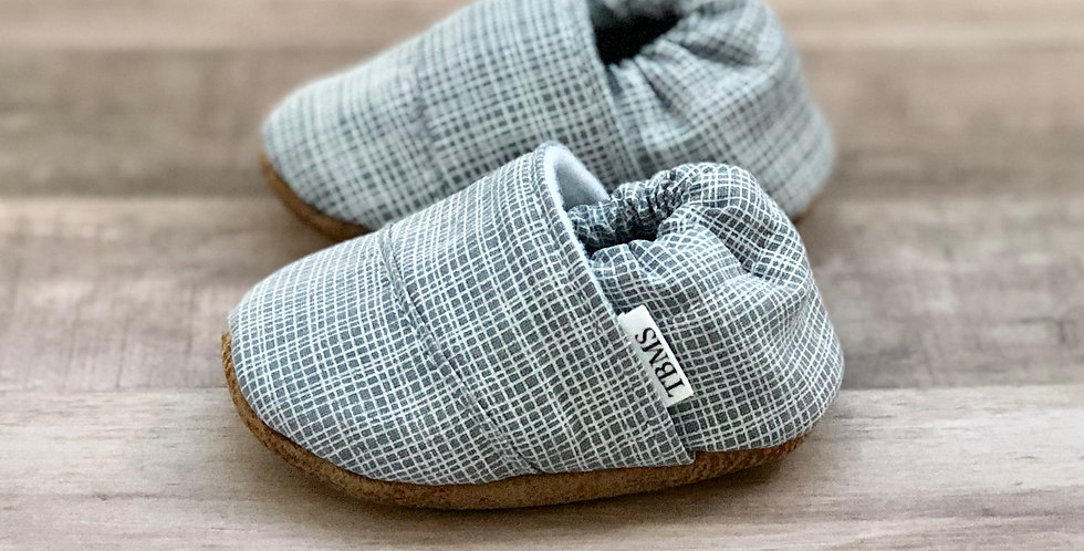 Light Gray Plaid Angled Moccasins