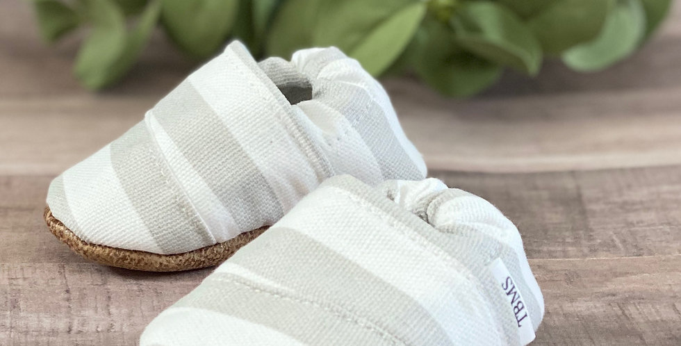 Grey and White Stripes Angled Moccasins