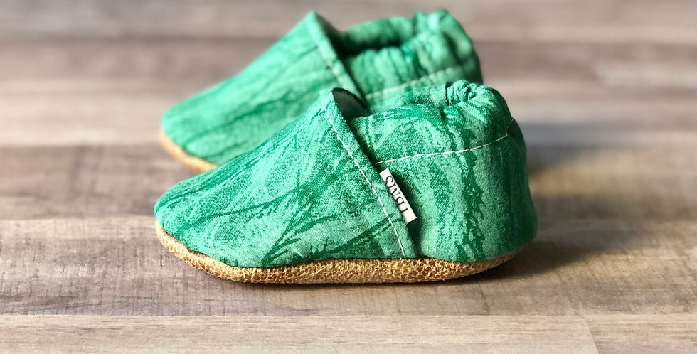 Green Cracked Ice Moccasins