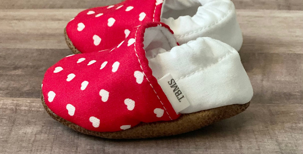 Red and White Heart Moccasins
