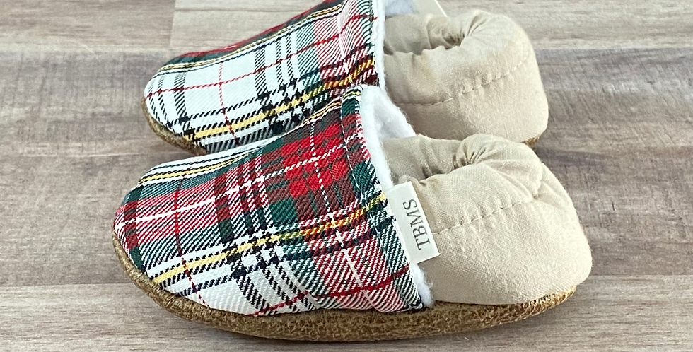Red and Green Holiday Plaid Moccasins