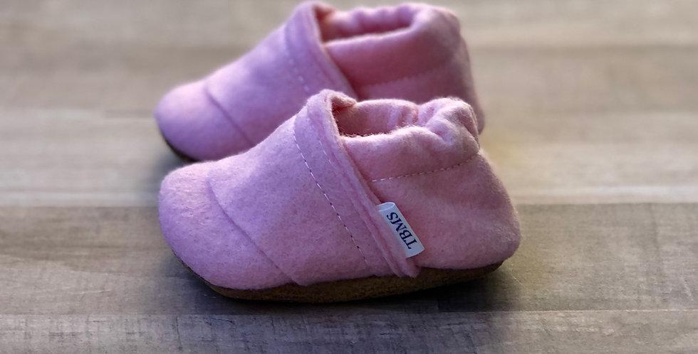 Bubblegum Pink Felt Moccasins