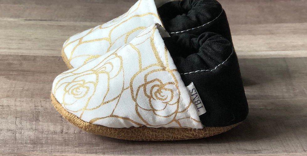 White and Gold Rose Moccasins