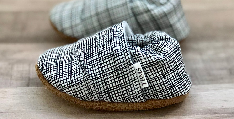 Black and White Plaid Angled Moccasins
