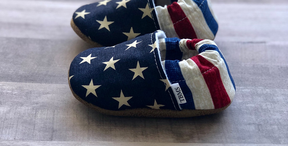 Distressed Stars and Stripes Moccasins