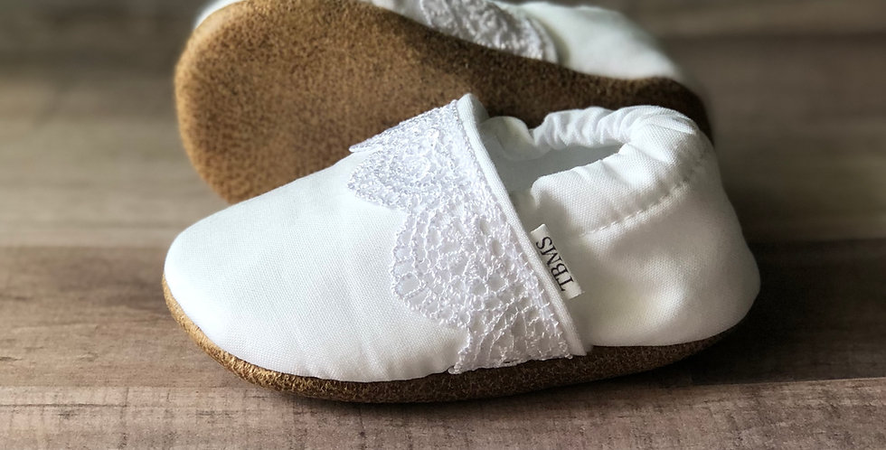 White Lace Strip Moccasins