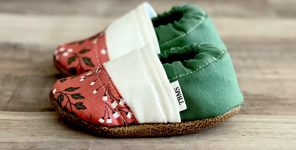Pink and Green Floral Angled Moccasins