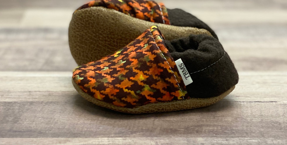 Orange and Brown Houndstooth Moccasins