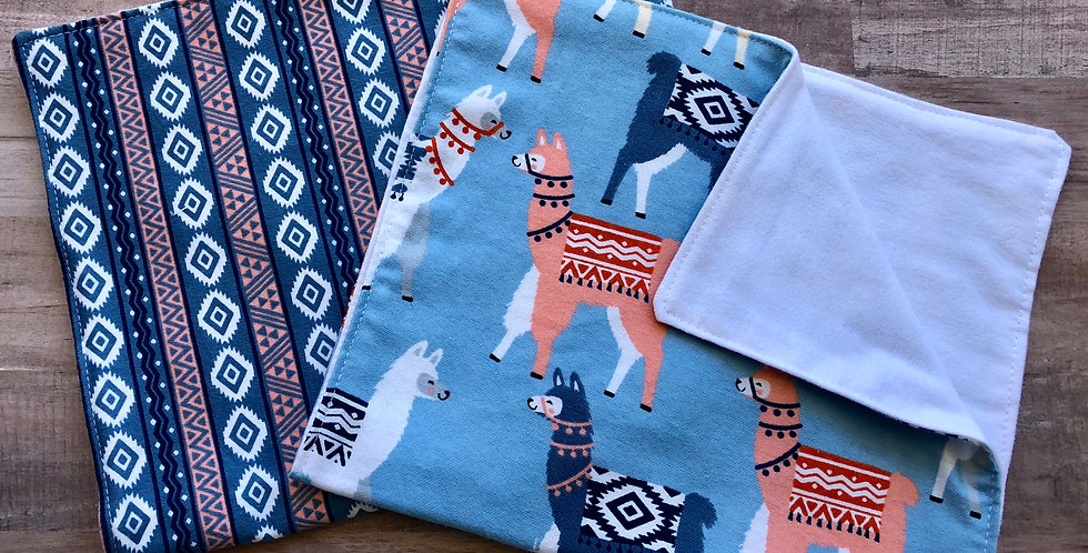 Coral and Navy Llamas - Set of 2 Burp Cloths