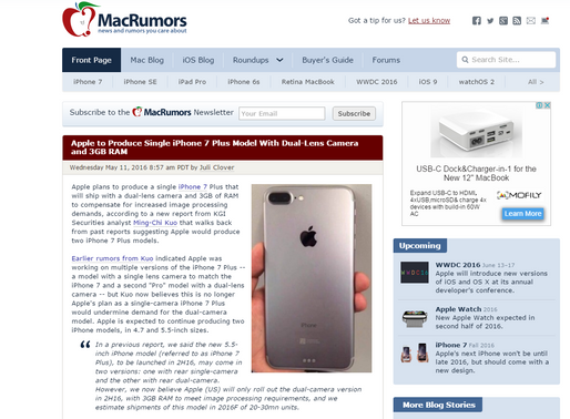 2016年に登場する「iPhone 7 Plus」は3GBメモリを搭載するかも?