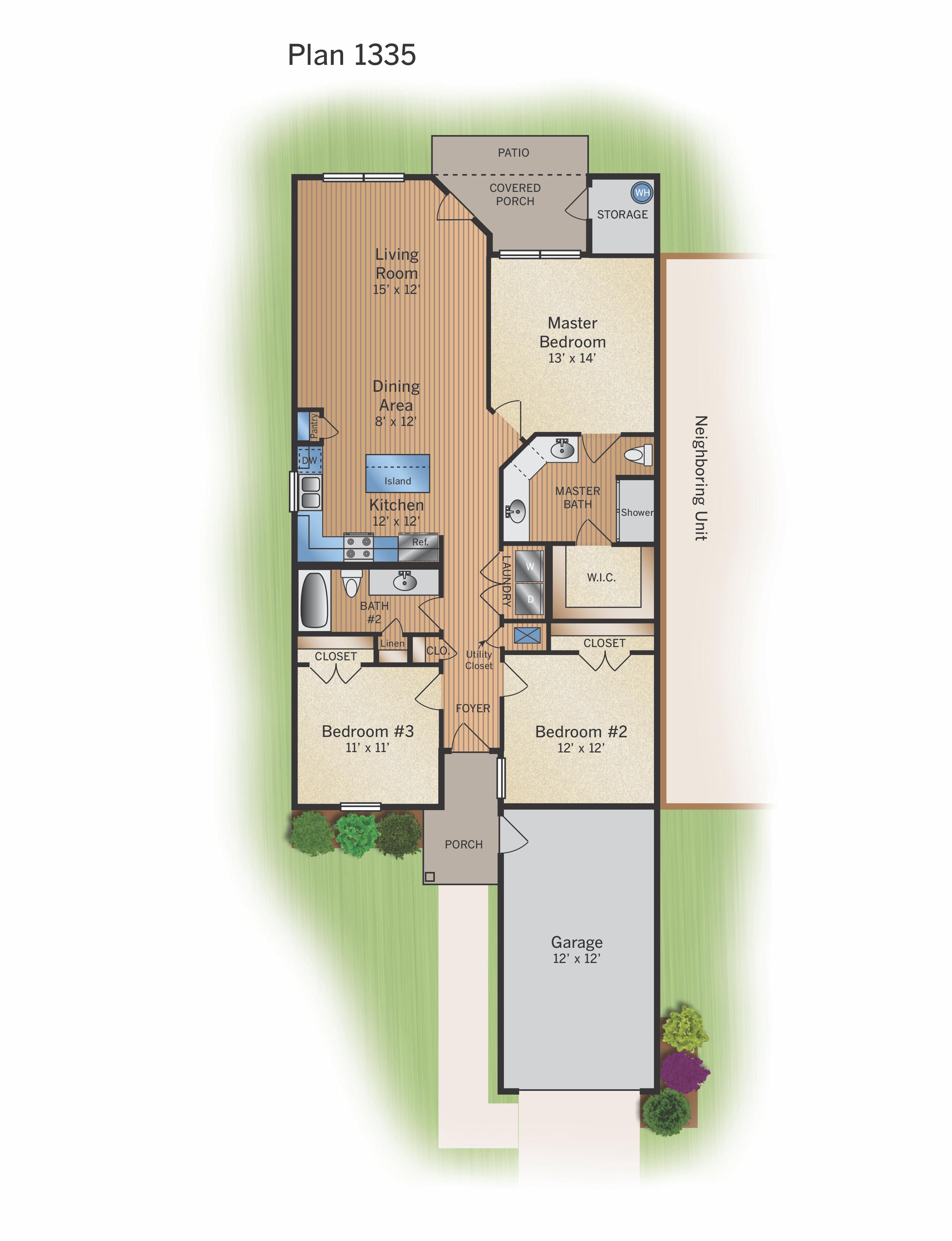 Floor Plan A - 1335 SF