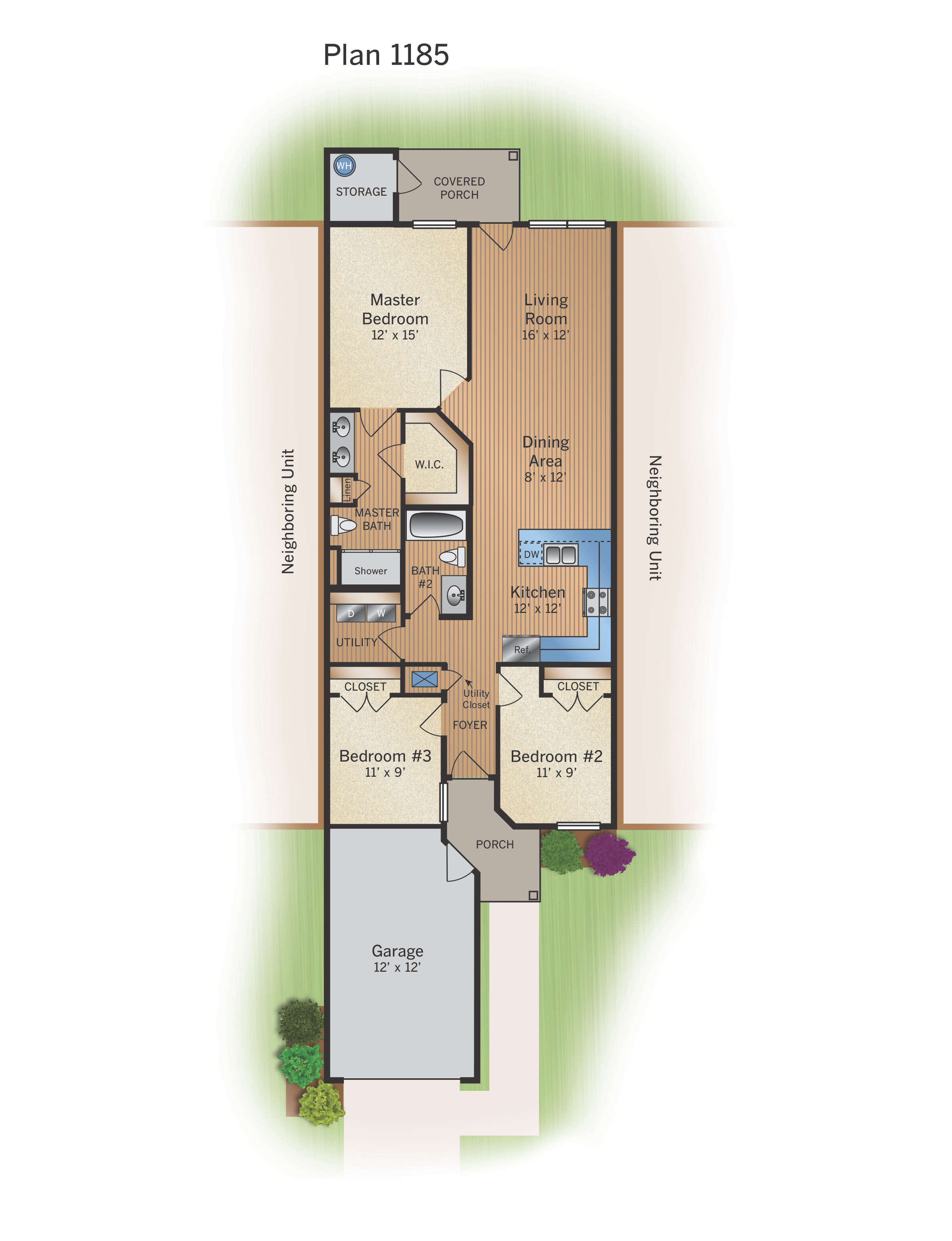 Floor Plan B - 1185 SF