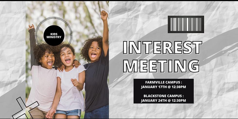 Kids Ministry Interest Meeting