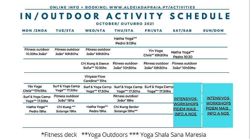 yoga Schedule Aldeia da Praia October 2021