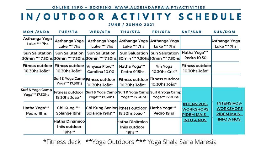 Summer yoga schedule Aldeia