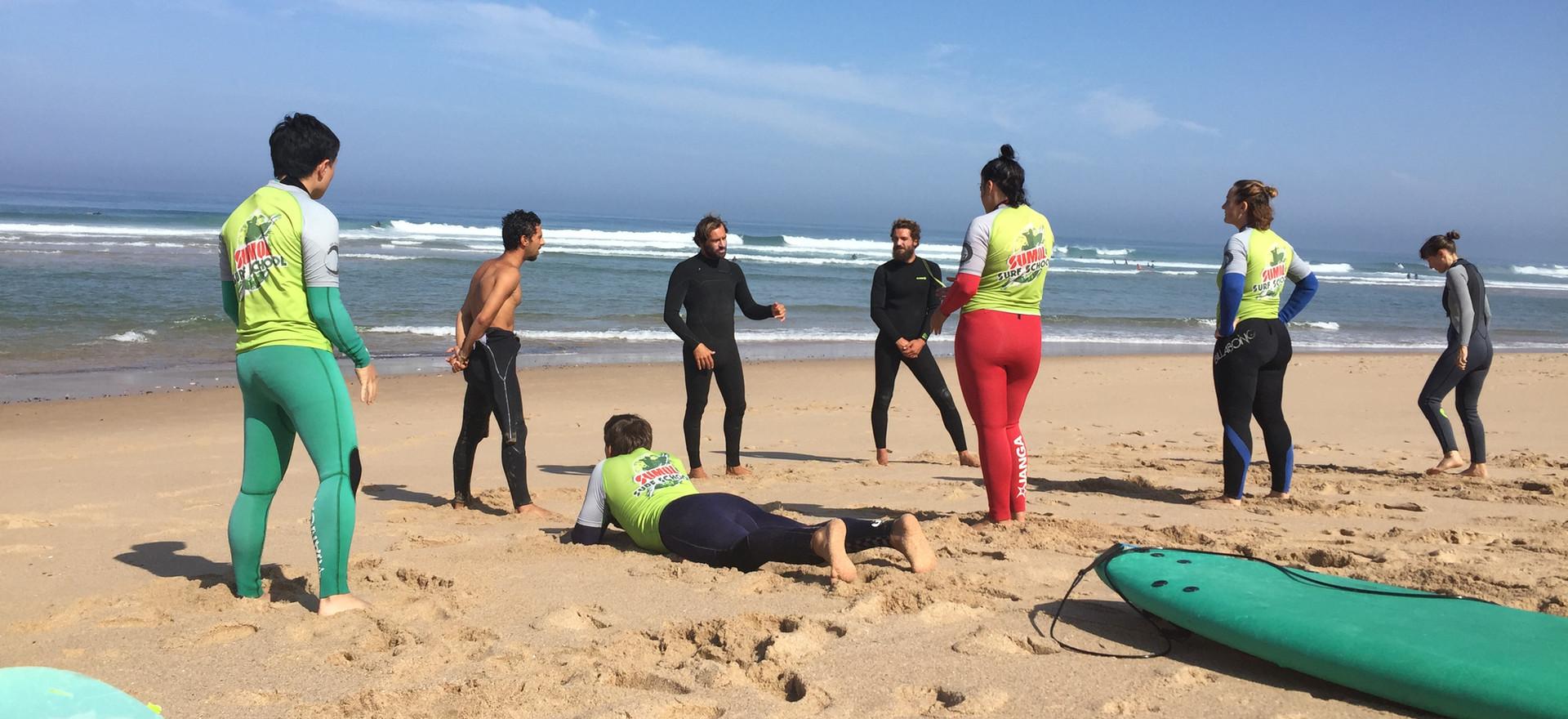 Surf class at the praia grande beach