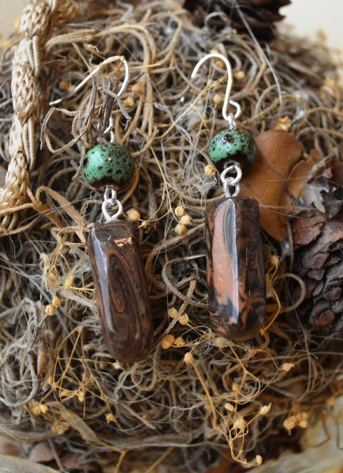 Bird's Eye View - silver tone hook - clay and bead