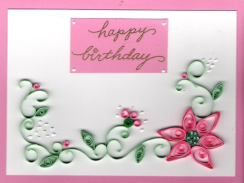 Quilled Pink and Green Birthday