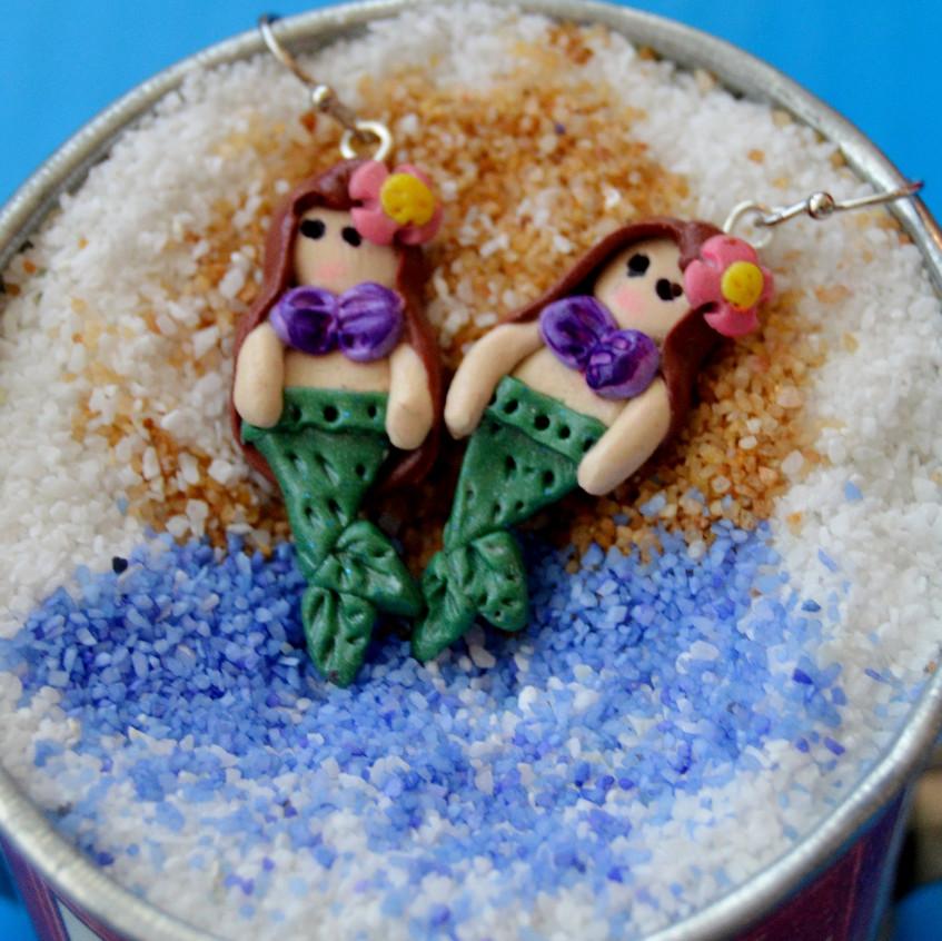 Mermaid Quay - clay - silver tone hooks