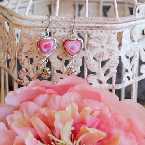 Hearts a'swirl Earrings -clay - silver t