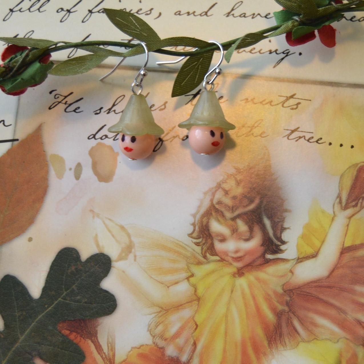 Flower Fairy Faces - silver tone hooks