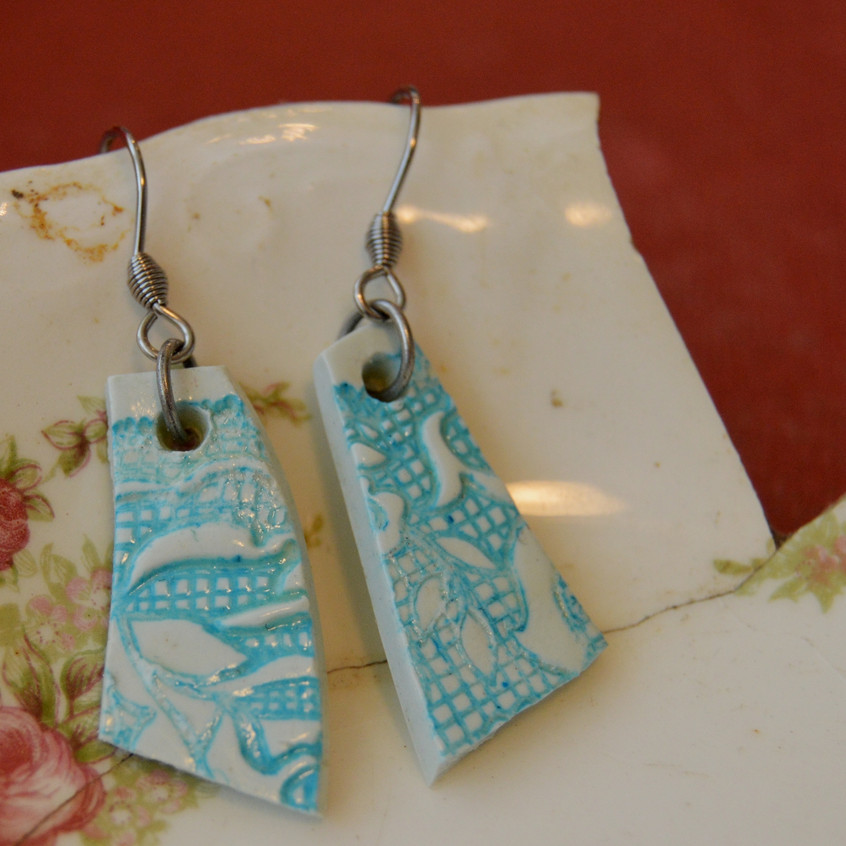 Memory Fragments- Clay - silver tone hooks