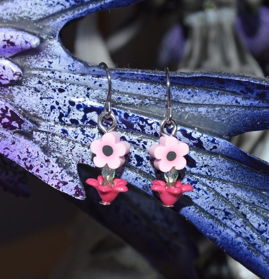 1st signs of spring - clay flower - silver tone hooks