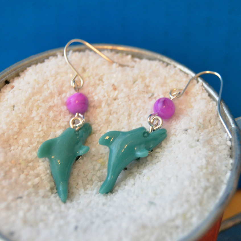 Dolphin Days - upcycled - silver tone hooks