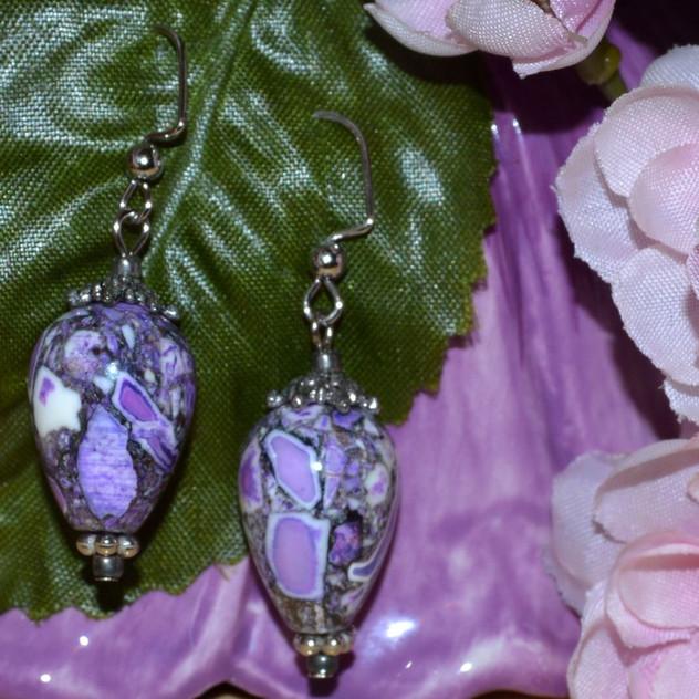 Purple Mosaic - silver tone hooks