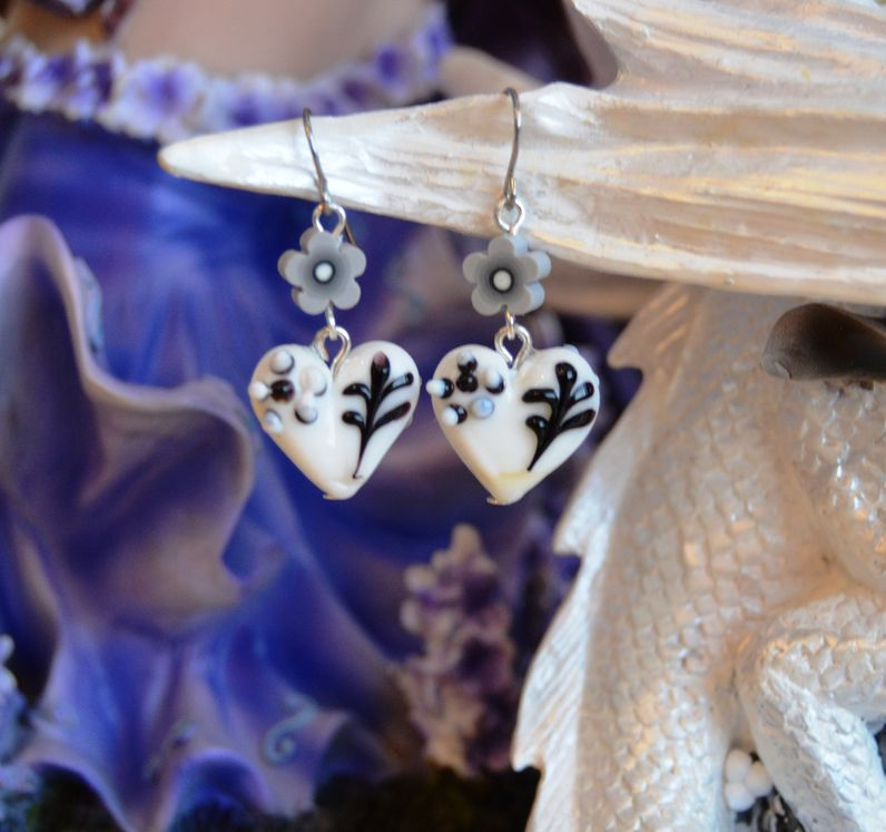 Lovely whimsy - clay and glass - silver tone hooks