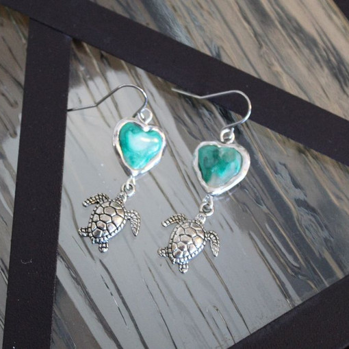 Totally Turtles - clay - silver tone hoo