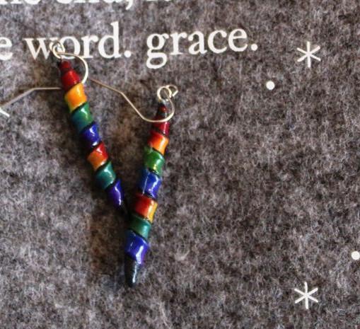 Rainbow twists - clay - silver tone hook