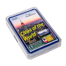 Quartet card game about cities of the world in a plastic case