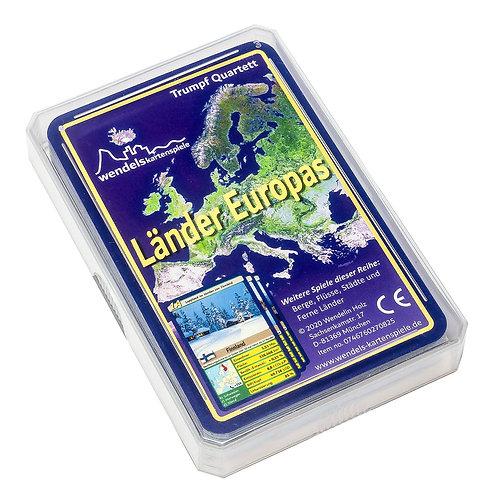 Trumpf Quartett Kartenspiel über Länder Europas in Plastik Etui