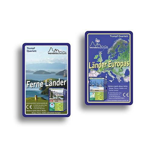 Beide Titelkarten des 2er-Sets von Wendels Kartenspiele Trumpf Quartette über Länder