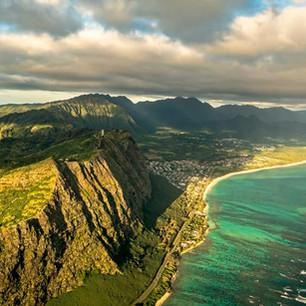 Aerial shot of the Southern Ko'olau Mountains and Waimanalo Bay