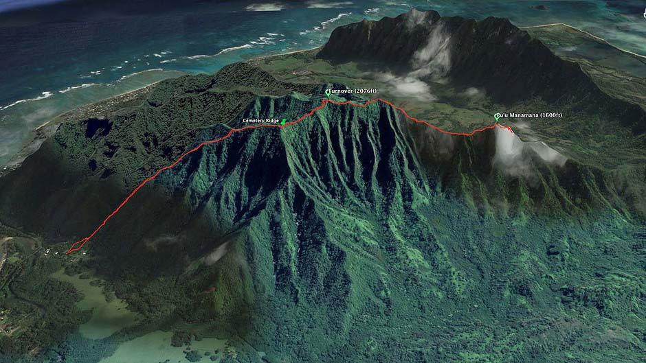 Google earth map of true manamana ridge