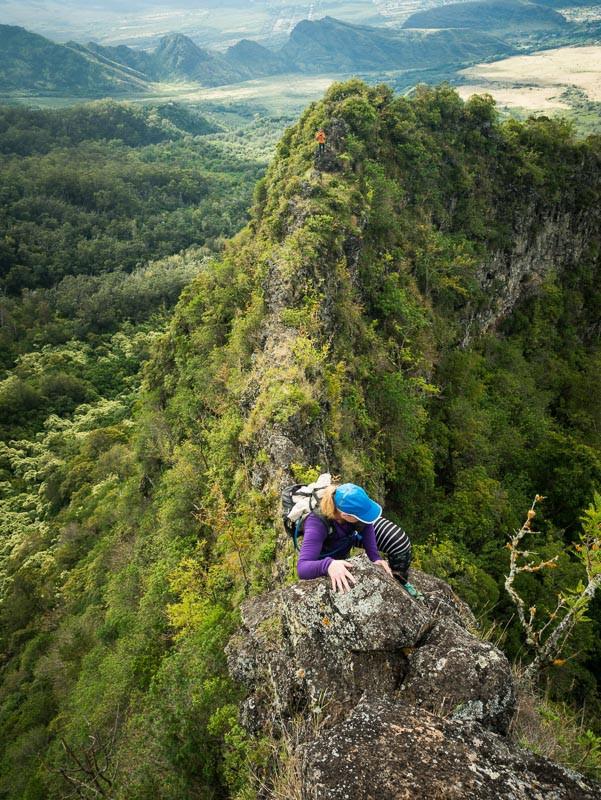 climber on narrow ridge