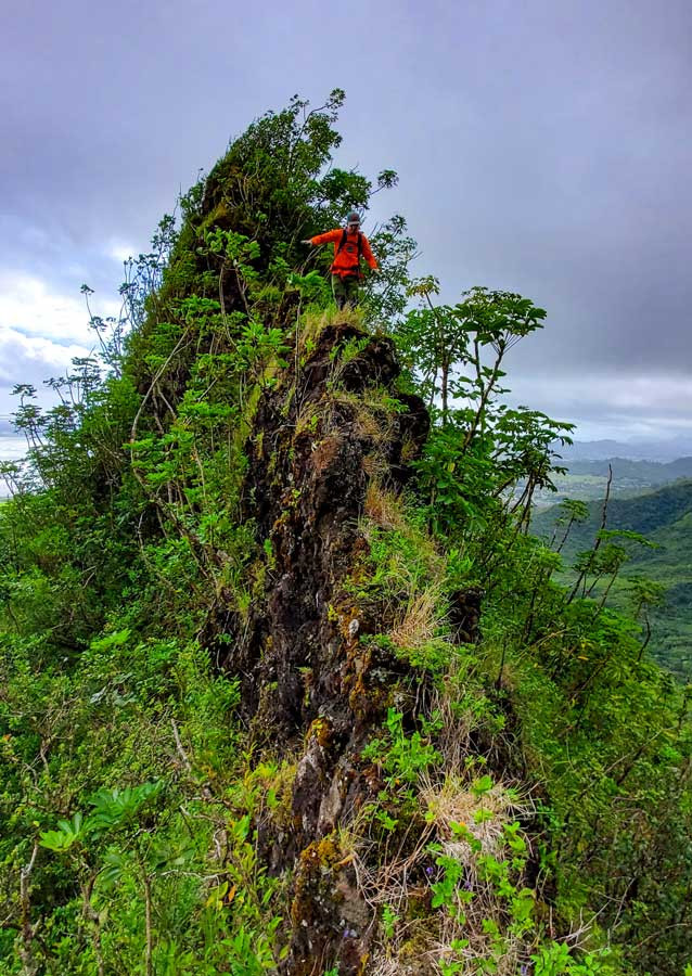 hiker on narrow ridge