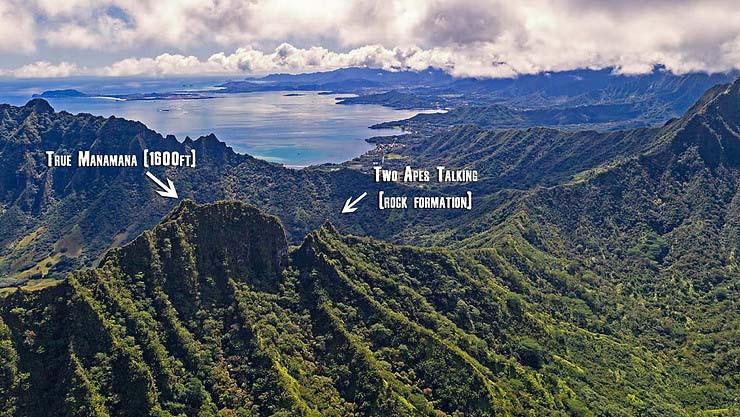 Aerial shot of True Manamana peak