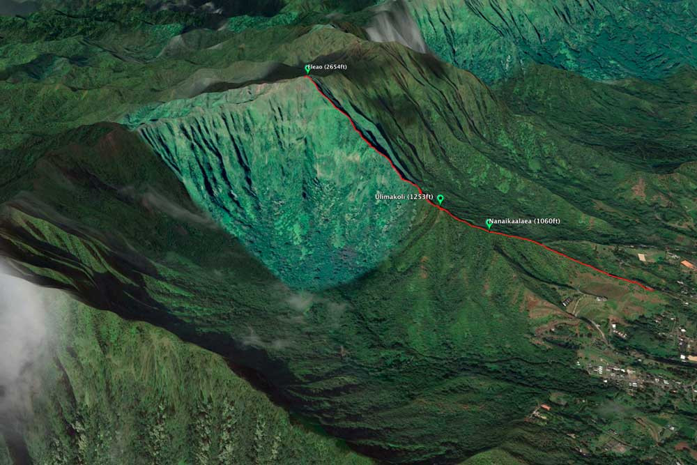Eleao windward ridge on Google Earth