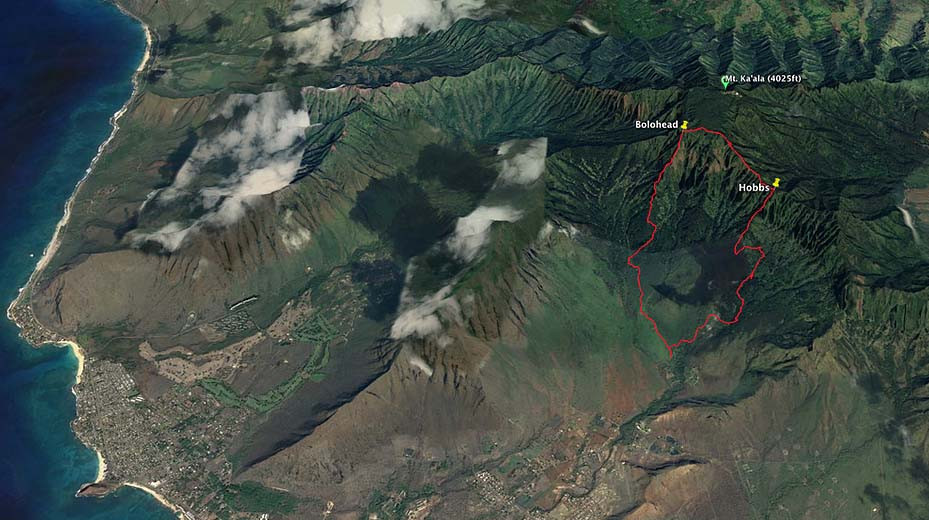 Googl Earth Image Waianae mountains