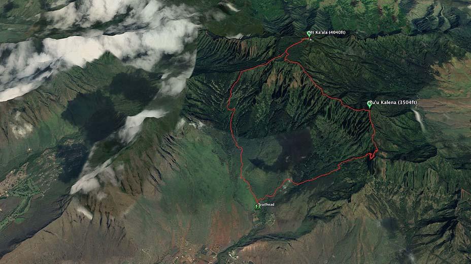 Google Earth Image of kalena to kaala track