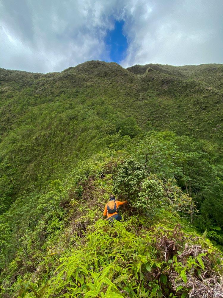hiker on ridge line
