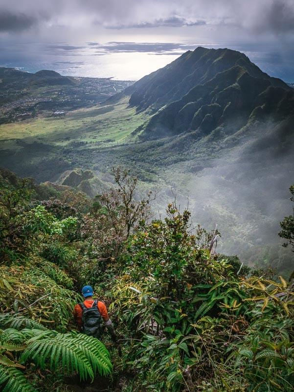 hiker descending mt kanaal
