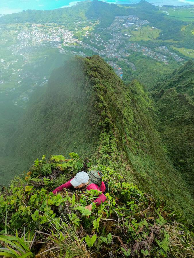 climber on ahuimanu ridge