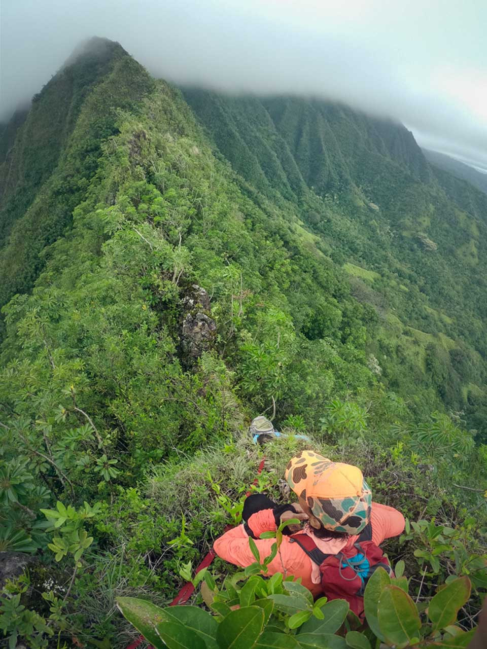 hikers on eleao windward ridge
